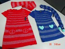 Nwt Girls Faded Glory Sweater Dress Scarf Red Blue Metallic Peace Signs Stylish
