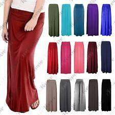 New Womens Plain Pleated Fold Over Waist Jersey Gypsy Long Viscose Maxi Skirt