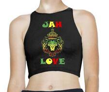 Jah Love Reggae Rasta Sleeveless High Neck Crop Top