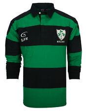 Ireland 3 Shamrock  Long Sleeve Rugby Shirt Navy/Green (S-XXXL)