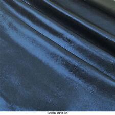 Lammleder Blau Antik Metallic Design 0,9 mm Dick Echt Leder Leather Fell H126