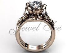 14k Rose Gold Forever One Moissanite Flower Engagement Ring Set Ermz-1041-3