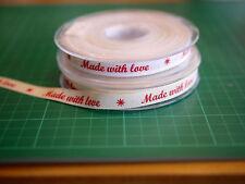DIY Webband MADE WITH LOVE 1 cm breit, 2 Farben, Zierband, Schmuckwebband