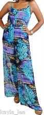 Turquoise/Purple Ethnic/Tribal Wide Leg Cami Romper/Jumper/Cat Suit Jump Suit S