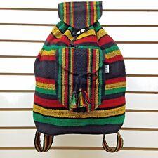 RASTA Bag Beach Hippie Baja Ethnic Multicolors Unisex Backpack Made in Mexico