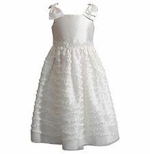 SWEET HEART ROSE Little Girl's 6 Ivory White Bow Shoulder Ruffled Dress NWT $68