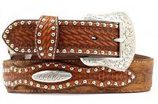 Nocona Western Mens Belt Leather Hair Studded Rich Earth N25004
