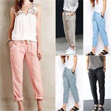 Ladies Elastic High Waist Loose Fit Casual Harem Pocket Sweat Pants Trousers