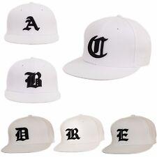 Men Women White New Snap back Cap Hat Black Gothic 3D Letters Baseball Hats LA