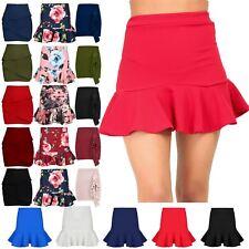 Womens Stretchy Peplum Ruffle Frill Hem Bodycon Ladies High Waisted Mini Skirt