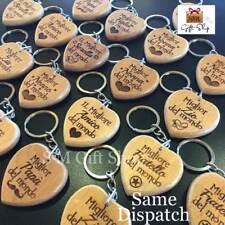 ITALIAN Personalised Wooden Engraved Keyring Keychain Dad Mum Birthday Gift
