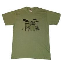 Drum Kit T-shirt Sagestone Green Mens Size M-XXL Drummer Rock Music