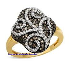 10K GOLD BRANDY & WHITE DIAMOND CHOCOLATE BROWN GORGEOUS FILIGREE DESIGN RING