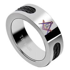 8mm Titanium Black Cable Inlay Masonic Freemason Men's Ring size 8 to 13