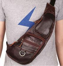 Genuine Leather Sling Chest Back Pack Handbag Men Messenger One Shoulder Bag Hot
