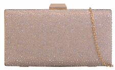 Ladies Glitter Diamante Hard Case Clutch Bag Glamour Party Gemstones Evening