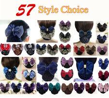 Lace Satin Bow Lady Cover Bowknot Barrette Hair Clip Bowknot Net Bun Snood C88