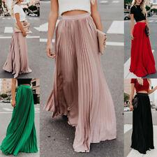 Women Fashion Skirt High Waist Pleated Casual Maxi Skirts Long Beach Boho Dress