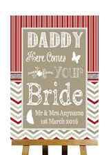 Rosso & Grigio Inverno Natale Here Comes Your SPOSA Daddy WEDDING segno
