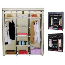 Triple Canvas Wardrobe Clothes Garment Storage Shelf Cupboard with Hanging Rail