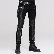 Punk Men Long Jean Pants Gothic High Waist Personality Trousers Black Streetwear