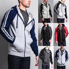 Men's Heavyweight Fleece Two Striped Zip Up Hoodie Sweater Unisex-13116