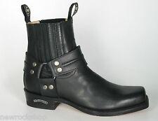 Sendra 2746 Uomini Stivali Da Cowboy Western Neri in Pelle alla Caviglia Biker