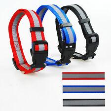 Nylon Reflective Dog Collar Adjustable Push Clip Buckle Pet