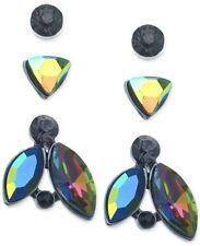 Guess Hematite-Tone Rainbow Crystal Stud Earring Set Fashion Jewelry