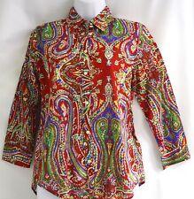 Ralph Lauren petite red paisley print button down shirt blouse