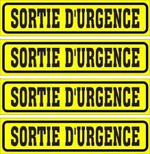 LOT DE 4 AUTOCOLLANTS LUSTRÉ, SORTIE D'URGENCE, POUR INTÉRIEUR OU EXTÉRIEUR