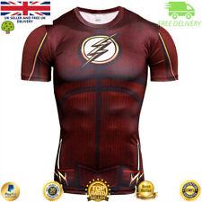 Mens t-shirt compression gym superhero avengers marvel muscle The Flash MMA BJJ