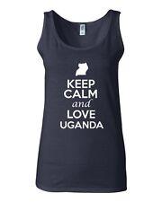 Junior Keep Calm And Love Uganda Country Nation Patriotic Sleeveless Tank Top