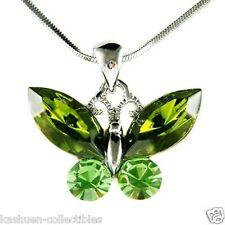w Swarovski Crystal Green BUTTERFLY Bridal Wedding Jewelry Pendant Necklace Xmas