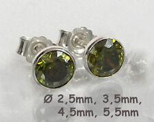 925 ECHT SILBER *** Ohrstecker Zirkonia oliv peridot grün, Größe wählbar