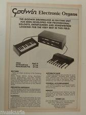 retro magazine advert 1981 GODWIN electronic organs