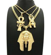 "HIP HOP KING TUT & ANKH & ANUBIS EGYPTIAN PENDANT 24"" & 30"" CHAIN NECKLACE SET"