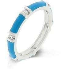 Silver Rhodium Plated Aqua Enamel Eternity Ring Band Cubic Zirconia Size 5 9 10