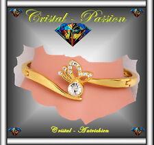 Jonc Bangle Bracelet cristal autrichien Papillon doré à l'or fin et zirconium