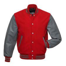 Stewart & Strauss Scarlet Red Wool & Grey Leather Varsity Letterman Jacket New