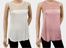 EX H&M PINK & WHITE Smart Sleeveless Crochet Yoke Top 6 8 10 12 14 16 18 *NEW*