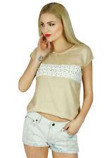 Bimba Women Short Sleeve Tank Top Lace Casual Summer Blouse Boho Chic Clothing