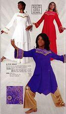 NWT Bell Sleeve Praise Top Velvet and Gold Trim Liturgical Dance  ch/adlt