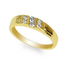 JamesJenny Yellow Gold Plated Round CZ Pattern Band Ring Size 4-10