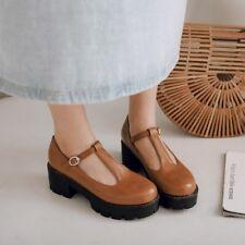 Women's T-Strap Mary Jane Block Mid Heels Platforms Pumps Buckle Shoes Size 8