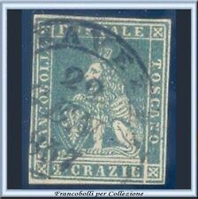 ASI 1851 Toscana 2 crazie verde azzurro su grigio n. 5f Usato Antichi Stati
