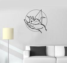 Wall Decal Origami Paper Crane Hand Romance Vinyl Sticker (ed1109)