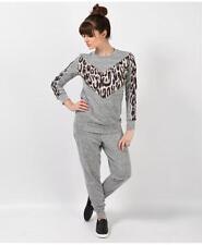 Plussize Ladies Grey Leopard Tracksuit Joggers New Loungewear