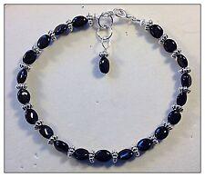 Anklet or Bracelet Black Tourmaline Gemstones, Bespoke in your choice of length