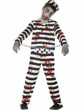 Boys Kids Zombie Convict Prisoner Jailbird Halloween Fancy Dress Costume Outfit